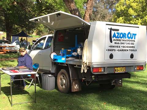 Malcolm and the Razor Cut Mobile Sharpening Vehicle
